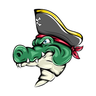 L'illustration du crocodile des pirates à l'aide du chapeau de pirates pour la mascotte gros navire