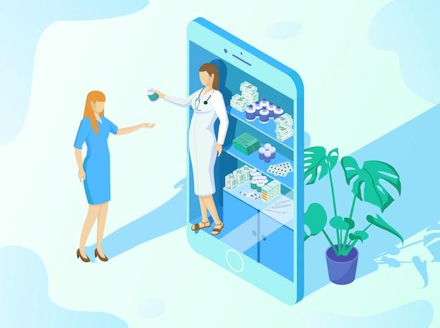 Illustration du dessin animé d'application de commande de médicaments en ligne.