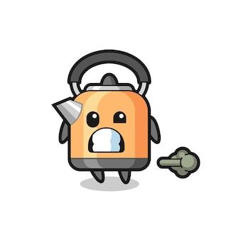 L'illustration du dessin animé de la bouilloire faisant un pet, un design de style mignon pour un t-shirt, un autocollant, un élément de logo