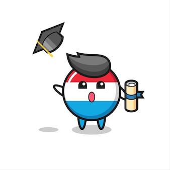 Illustration du dessin animé d'un insigne du drapeau luxembourgeois jetant le chapeau à l'obtention du diplôme, design de style mignon pour t-shirt, autocollant, élément de logo