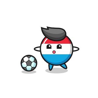 L'illustration du dessin animé de l'insigne du drapeau luxembourgeois joue au football, un design de style mignon pour un t-shirt, un autocollant, un élément de logo