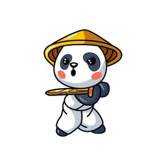 Illustration du dessin animé mignon petit panda samouraï