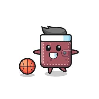 L'illustration du dessin animé de portefeuille en cuir joue au basket-ball