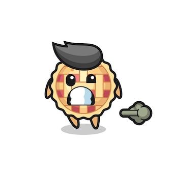 L'illustration du dessin animé de tarte aux pommes faisant un pet, un design de style mignon pour un t-shirt, un autocollant, un élément de logo