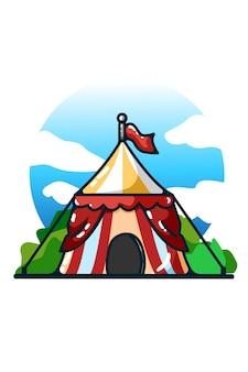 Illustration du dessin à la main de la tente de cirque