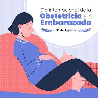 Illustration du dia internacional de la obstetricia et de l'embarazada