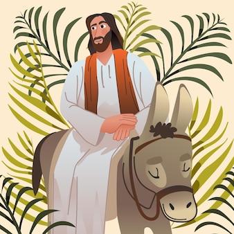 Illustration du dimanche des palmiers dégradé