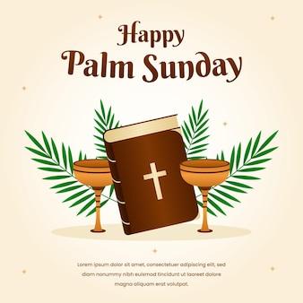 Illustration du dimanche des palmiers à plat