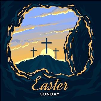 Illustration du dimanche de pâques avec des croix