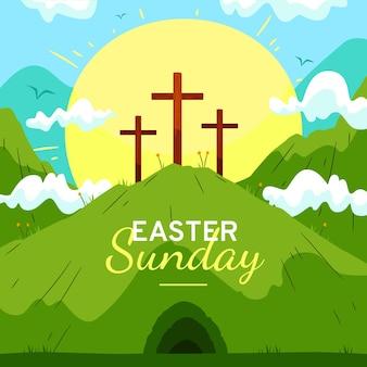 Illustration du dimanche de pâques dessinés à la main