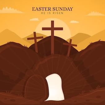Illustration du dimanche de pâques plat