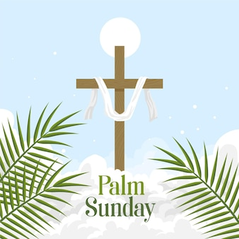 Illustration du dimanche des rameaux avec croix