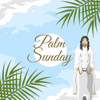 Illustration du dimanche des rameaux avec jésus et âne