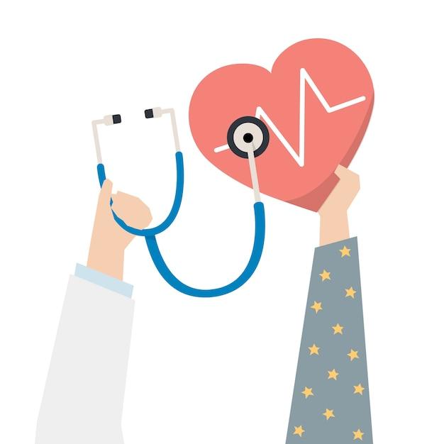 Illustration du docteur vérifiant le coeur du patient
