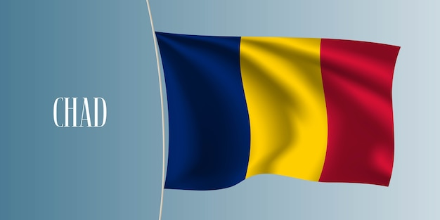 Illustration du drapeau ondulant du tchad