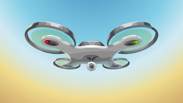 Illustration du drone blanc moderne au ciel bleu avec du sable