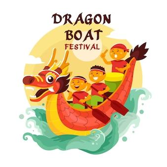 Illustration du festival des bateaux-dragons dessinés à la main
