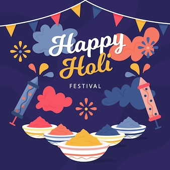 Illustration du festival holi dessinée à la main