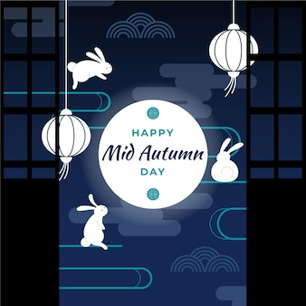 Illustration du festival de la mi-automne avec lanternes et lune