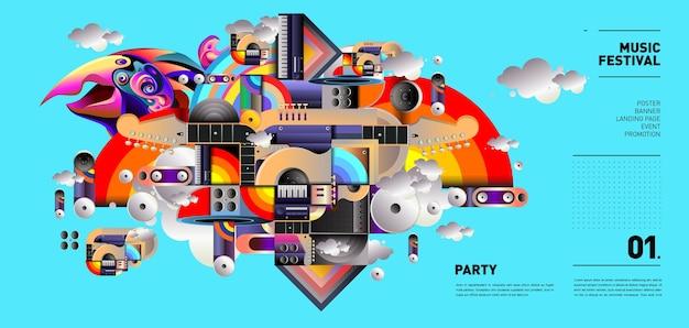 Illustration du festival de musique pour la fête et l'événement