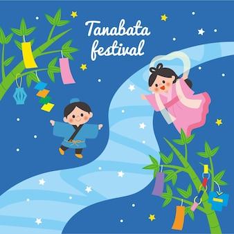 Illustration Du Festival De Tanabata Plat Vecteur Premium