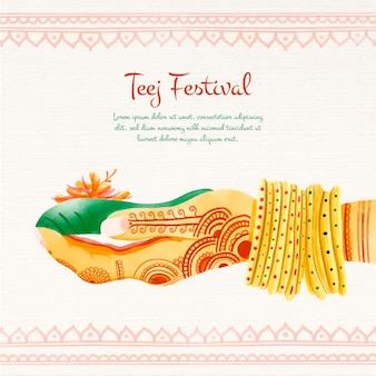 Illustration du festival teej aquarelle peinte à la main