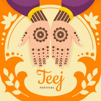 Illustration du festival de teej plat