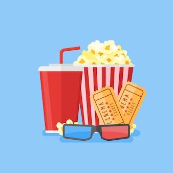 Illustration du film. popcorn, soda à emporter, lunettes de cinéma 3d et billets. conception de cinéma dans un style plat.