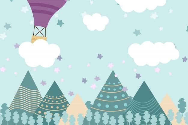 Illustration du fond des enfants avec la montagne