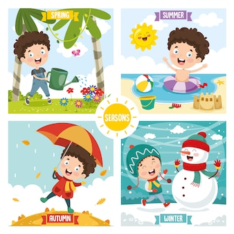 Illustration du gamin et des quatre saisons