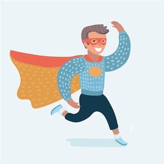 Illustration du garçon agitant la main et courir