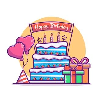 Illustration du gâteau d'anniversaire avec des ballons et une boîte. concept de fête de joyeux anniversaire. style de dessin animé plat