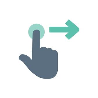 Illustration du geste de la main de l'écran tactile