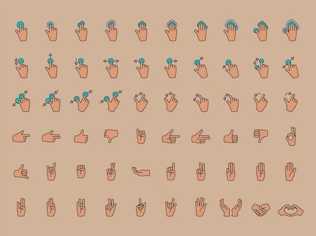 Illustration du geste des mains en fine ligne