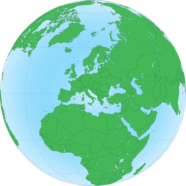 Illustration du globe terrestre avec concentré sur l'europe