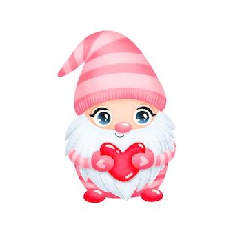 Illustration du gnome de la saint-valentin dessin animé mignon en amour isolé