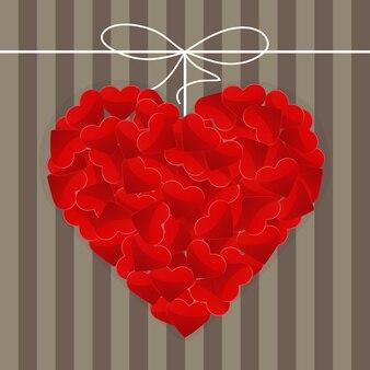 Illustration du grand coeur fait de nombreux petits coeurs rouges