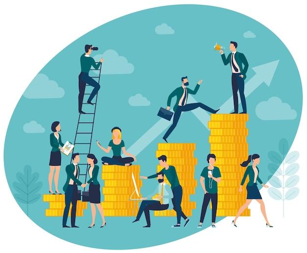 Illustration du graphique de croissance des bénéfices d'investissement avec des personnes