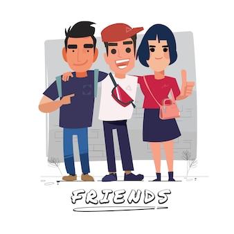 Illustration du groupe d'amis
