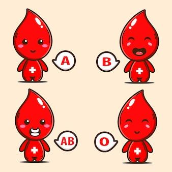 Illustration du groupe sanguin en personnage mignon