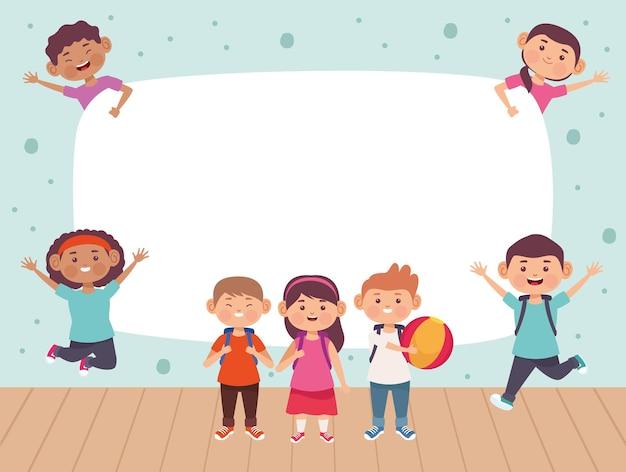 Illustration du groupe sept enfants avec un espace vide