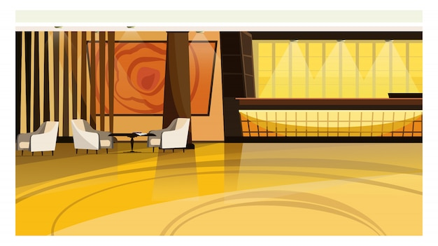 Illustration du hall de l'hôtel