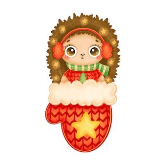 Illustration du hérisson de noël dessin animé mignon avec des étoiles en mitaine de noël rouge