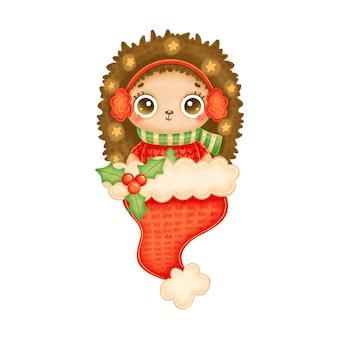 Illustration du hérisson de noël dessin animé mignon portant un pull rouge avec des étoiles en bonnet de noel rouge