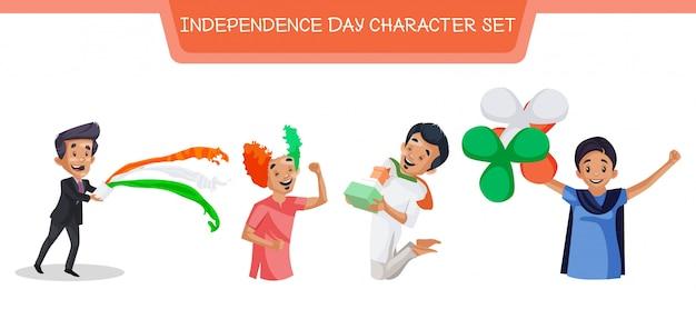 Illustration du jeu d'autocollants de la fête de l'indépendance
