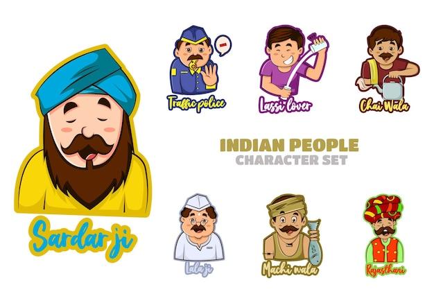 Illustration du jeu de caractères du peuple indien