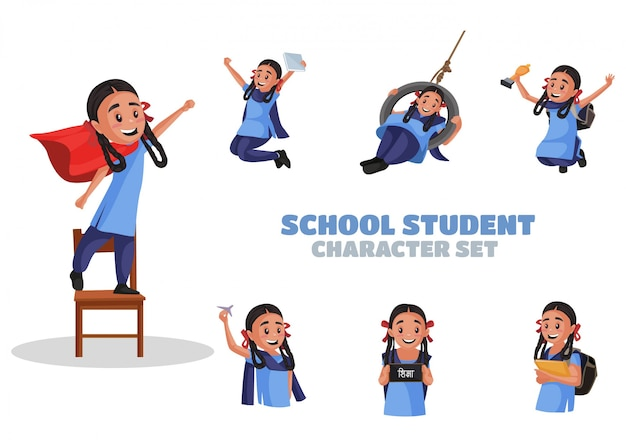 Illustration du jeu de caractères d'élève de l'école