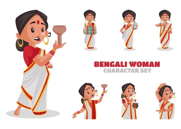 Illustration du jeu de caractères de femme bengali