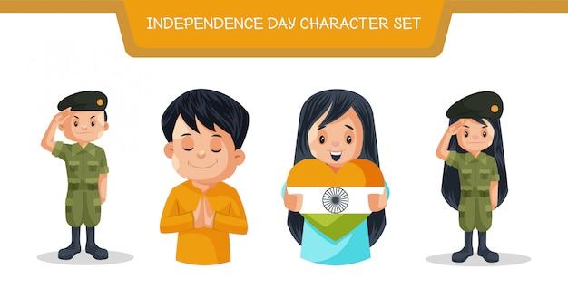 Illustration du jeu de caractères de la fête de l'indépendance