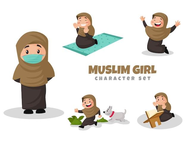 Illustration Du Jeu De Caractères De Fille Musulmane Vecteur Premium